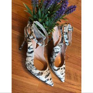 Kate Spade snakeskin ankle strap pointy toe heels